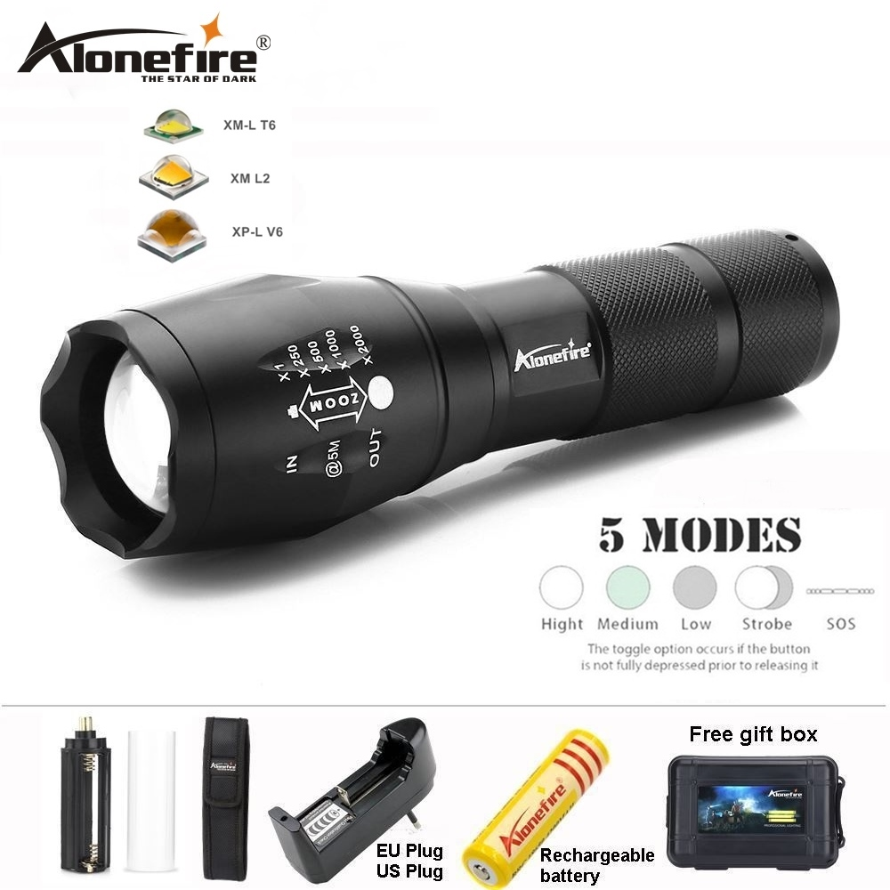 AloneFire E17 Powerful LED Flashlight 18650 torch waterproof CREE XM-L2 T6 floodlight 8000LM Zoomable light G700 AAA spotlight цена