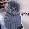 factory direct sale handmade big size 15cm real fox fur pom pom hat super cute unisex women men winter knitted beanies fur hat