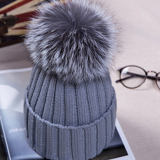 factory direct sale handmade big size 15cm real fox fur pom pom hat super cute unisex women men winter knitted beanies fur hat