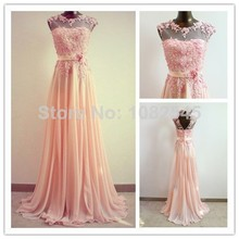 Modest High Neck Coral Bridesmaid Dresses Gown Sleeves See Through Applique A Line Chiffon Prom Party Dress 2016 party Gowns