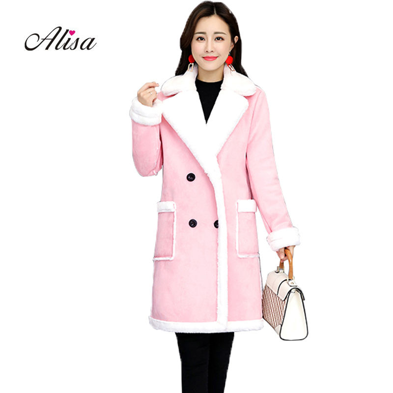 New Winter Wool Liner Keep Warm Faux   Suede   Jacket Women Double Breasted Medium Long Jackets 2018 Ladies Solid Thick Quilted Coat