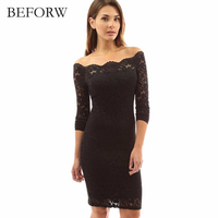 BEFORE Sexy Women Dress Autumn Long Sleeved Solid Color Pencil On White Lace Plus Size Dresses