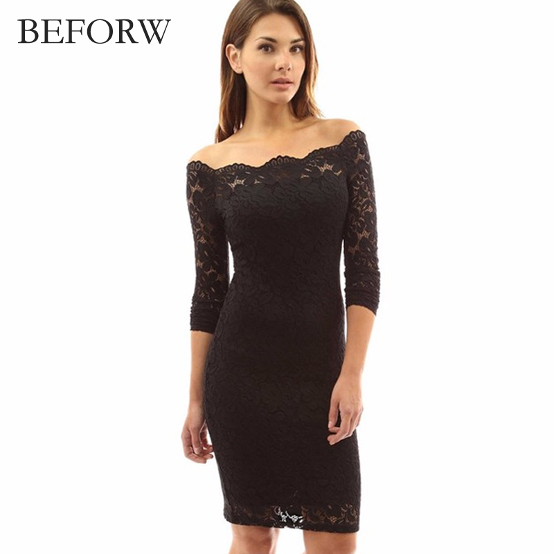 BEFORW Off Shoulder Dress Women Spring Summer Long Sleeve Sexy Lace Dresses Black White Elegant Party Dress Clothes For Women