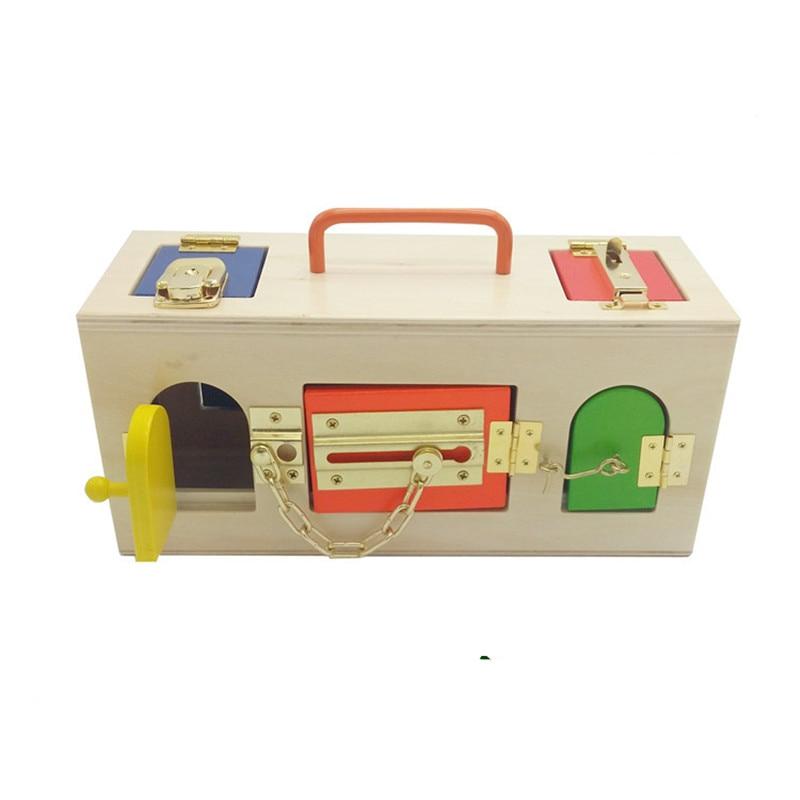 Új, fából készült baba játékok Montessori színes zárdoboz Korai oktatási zár Toy Baby ajándékok