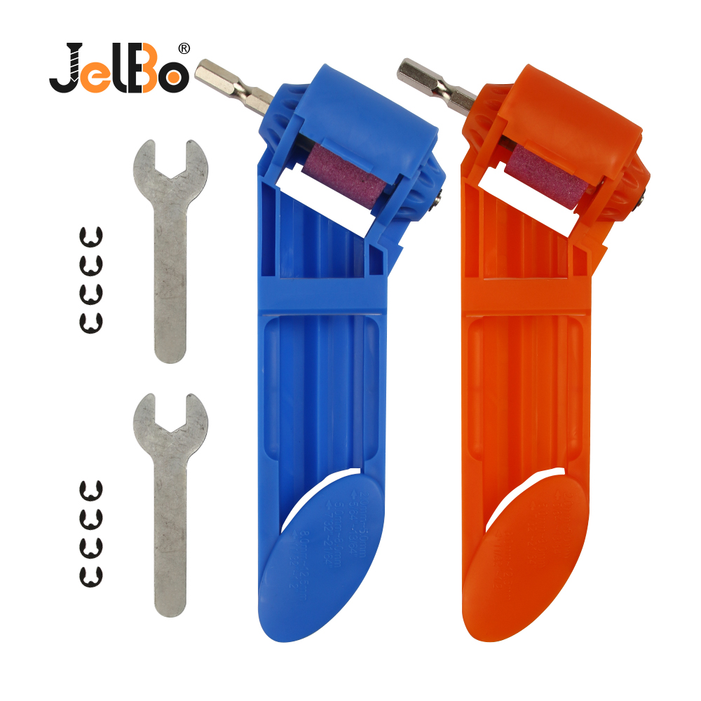 JelBo Blue/Orange Color Portable Drill Bit Grinder Twist Drill Bit Sharpener Corundum Wheel Grinding Machine For Electric Drill