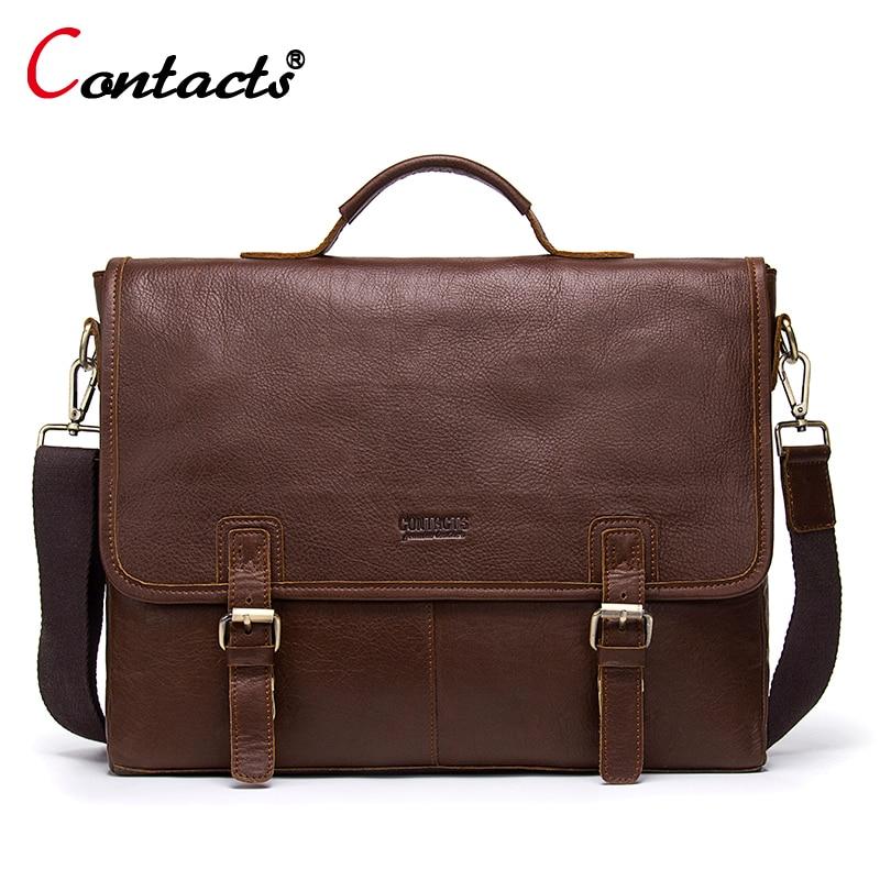 CONTACT'S Men Bag Briefcase Business Office Bags Genuine Leather Shoulder Handbags Male Men Messenger Bag Handbag Designer Brand все цены