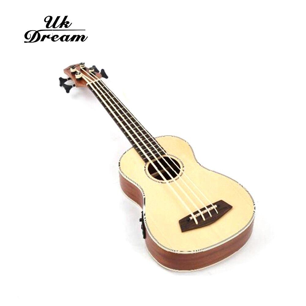 30 pouces guitare basse électrique en bois 4 cordes ukulélé Instruments de musique professionnel Picea Asperata U basse ukulélé UB-513 - 3