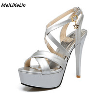 New Cross Strap Silver Sandals Women High Heels Platform Sandals Shoes White Wedding Sandals 12 Cm