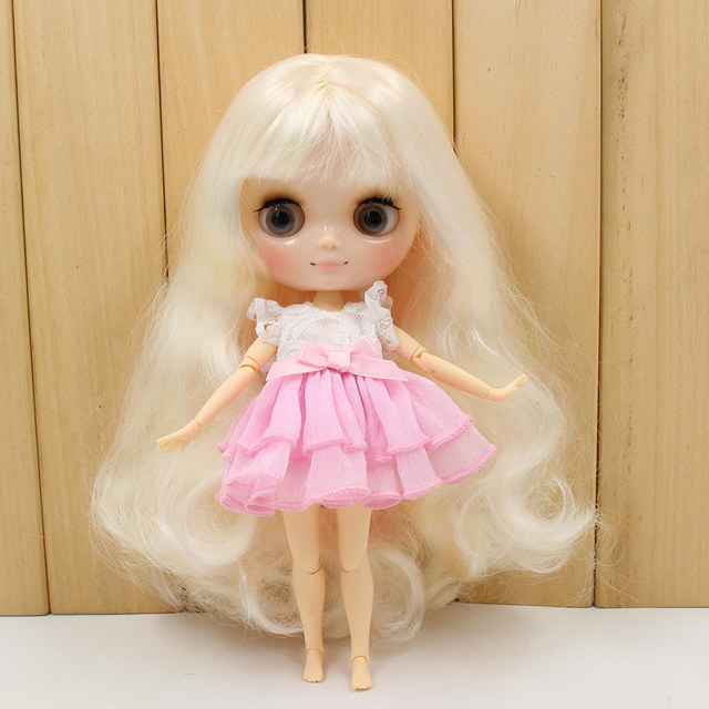 Middie Nude Blyth Doll Golden mix Pink hair with bangs Transparent face gray eye 20cm DIY gift with hand set  No.BL6025/1017