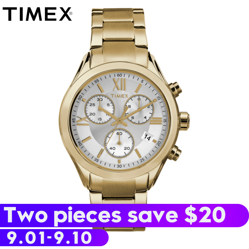 2018 Special Offer Real For Timex Men's Watches Tw2p937 Gold Miami Chronograph Multi-function Luminous Waterproof Alloy Relogio