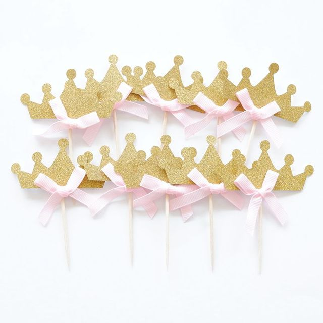 10 Pieces Pink Princess Crown Cupcake Toppers Cake Party Supplies Birthday Wedding Party Decoration
