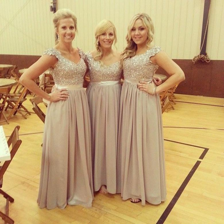 Most Fashion Gray Bridesmaid Dresses 2017 Long Chiffon Cap Sleeve Sequin Beaded Top Dress In From Weddings Events On