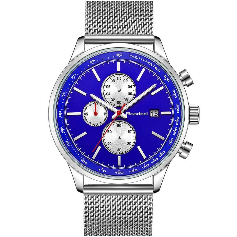 Для мужчин Военная Спорт Для мужчин s часы Элитный бренд полный Сталь Повседневное кварцевые часы Водонепроницаемый мужской часы с хроногр