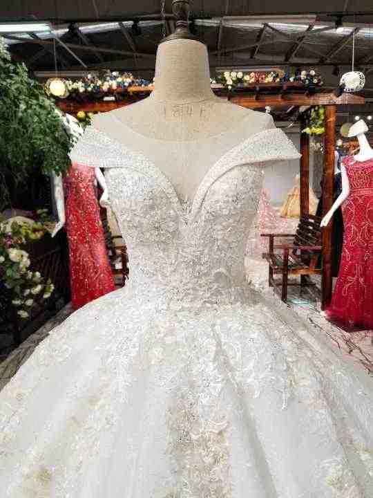 LS92440 2018 חדש עיצוב שמלה לבן אורגנזה עם תחרה גדול חצאית כובע שרוולים o צוואר מחוך סקסי שקוף חזרה חתונה שמלה