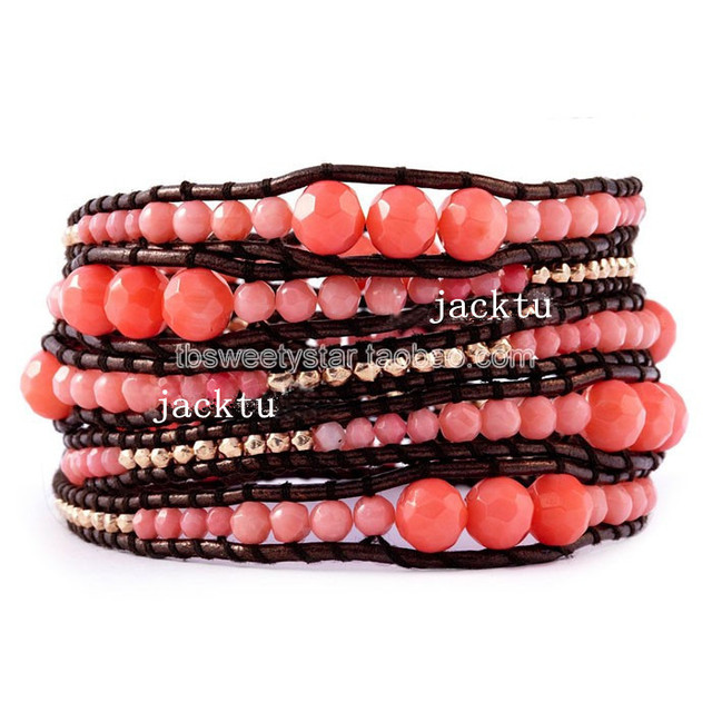 2017 Free shipping handmade pink natural coral dark red leather wrap bracelet