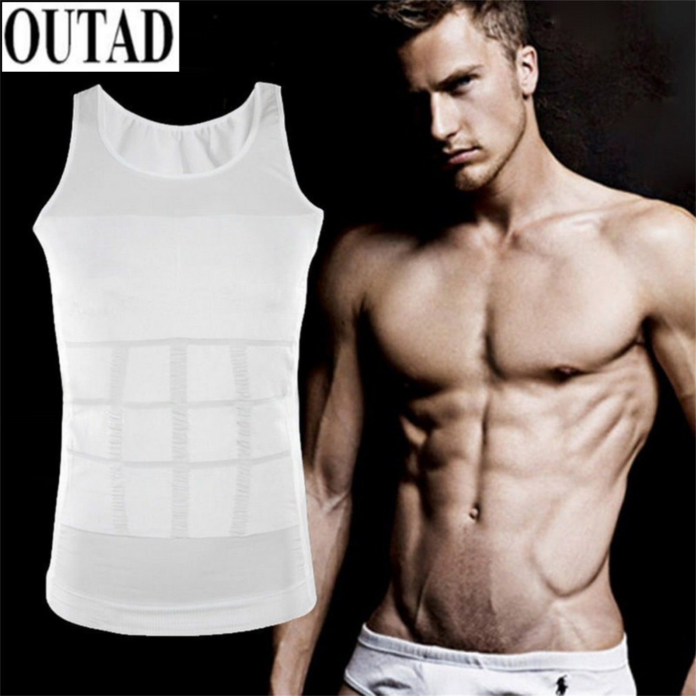 OUTAD Outdoor Hiking Men T shirt Corset Body Slimming Tummy Vest Belly Waist Girdle Shirt Shapewear Underwear Waist Girdle Shirt steel boned brocade corset vest