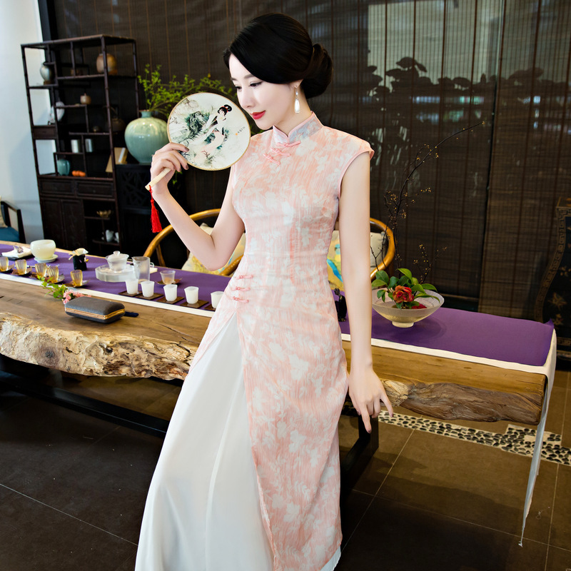 بنات أزياء سيدة نمط طويل تشيباو تشيباو شعبية جديدة و الوقوف طوق طويلة تشيباو أكمام cheongsams Q-3