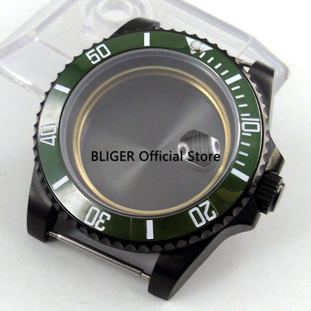 Sapphire Glass 40mm Green Ceramic Bezel Solid Black PVD Coated Watch Case Fit For ETA 2824 2836 MIYOTA 8215 8205 Movement C1-F цена и фото