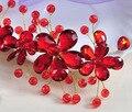 Coreia do estilo handmade contas de strass vermelho acessório nupcial da coroa da noiva do casamento da moda para as mulheres