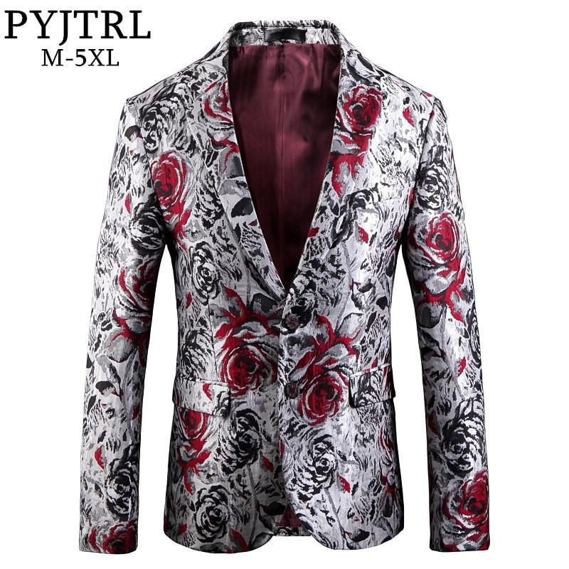 PYJTRL hommes mode Jacquard Rose motif Floral jolie pochette Hombre mariage marié scène Costumes Slim Fit costume veste-in Blazers from Vêtements homme    1