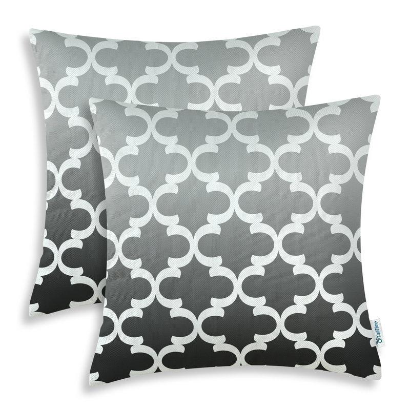 2PCS Square CaliTime Cushion Cover Pillows Shell Gradient Quatrefoil Accent Geometric Gray Black 18 X 18(45cm X 45cm)