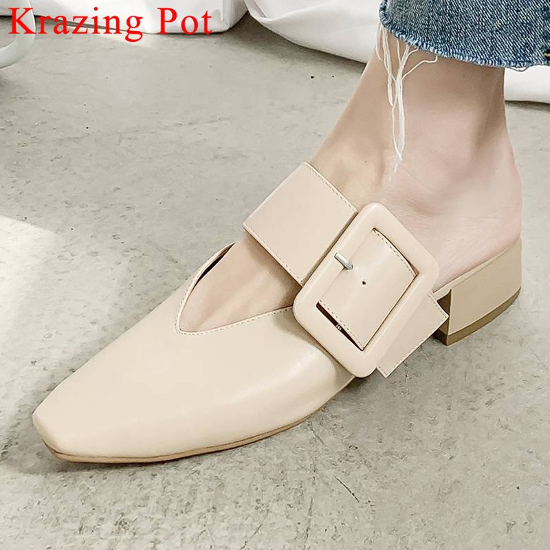 Krazing Pot cow leather movie stars retro buckle decoration slip on mules office lady chunky heels