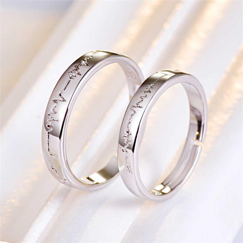 Personalized Stainless Steel Ecg Rings Friendship Ekg Rings