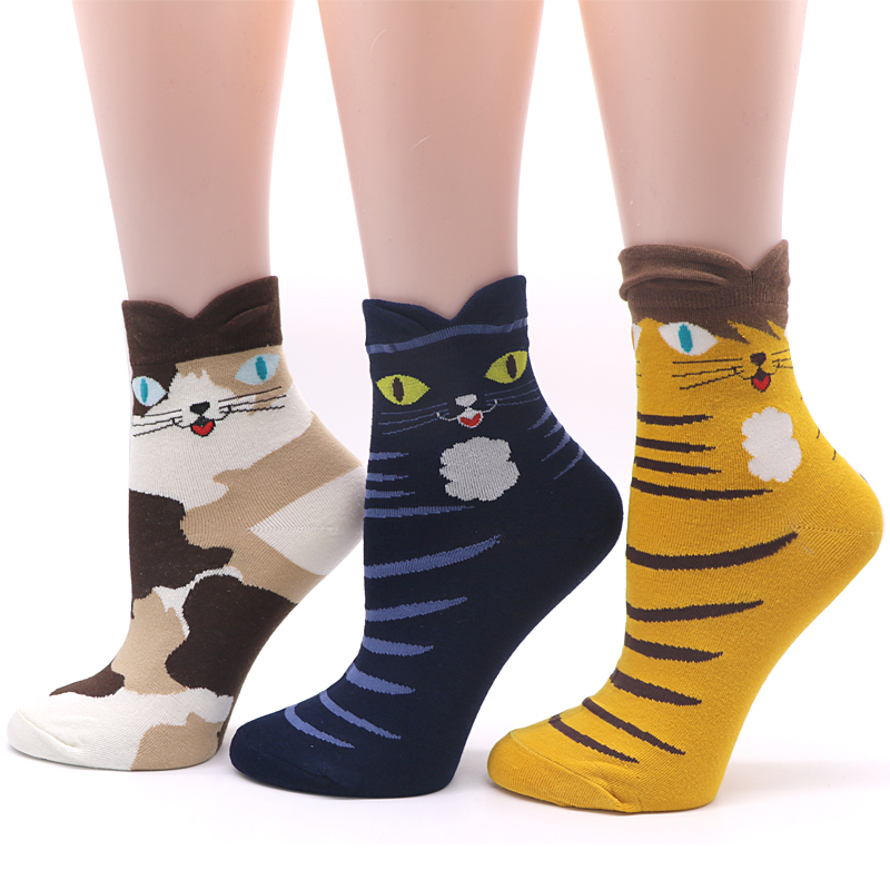 3Pair Men 3D Animals Footprints Striped Cartoon Socks Funny Male Socks Autumn Winter lovely Socks Meias Homens Cotton Blend Sock