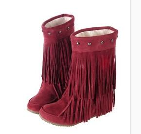 Gran rojo 34 Nieve marrón Otoño 43 Mujer Borlas negro Beige Plano 3 Tamaño Botas Flecos Rodilla Zapatos Capas Primavera De Tacón amarillo 2015 qO1xgg