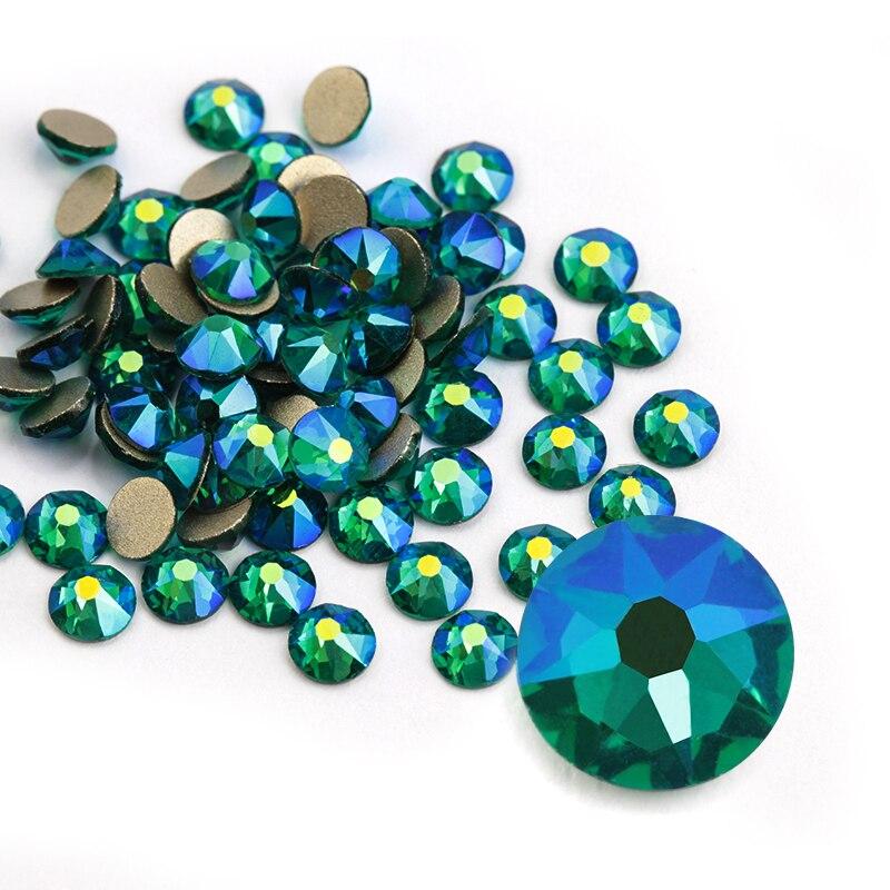8 גדול 8 קטן SS20 (4.8-5.0mm) ירוק זירקון AB 3D נייל אמנות קישוט Rhinestones כסף Flatback Rhinestones גליטר