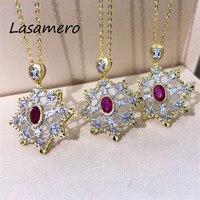 LASAMERO Halo 0.398 CTW Round Cut Ruby Center Pave Set 18k Yellow Gold Natural Diamond Pendant Necklace