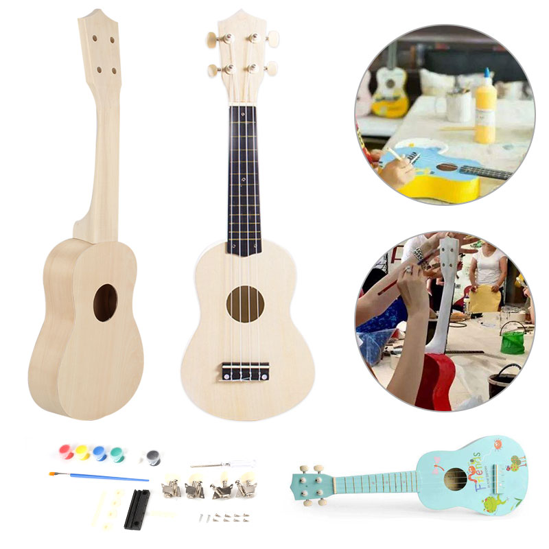 21 Inch Ukulele DIY Kit Hawaii Guitar Handwork Support Painting Wooden Music Toys Musical Instruments Toys For Children Kids