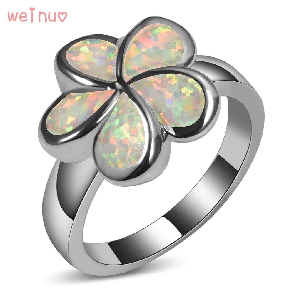 Weinuo Type De Fleur Blanc Opale Anneau 925 En Argent Sterling de Bonne Qualité bijoux De Mariage Anneau Taille 5 6 7 8 9 10 11 A247