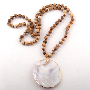 Fashion Natural stone Long Tiger Eye Knotted With Shell Pendant Necklace Women Lariat Necklaces