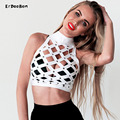 Summer Sexy Bustier Crop Tops Women Short Hollow Out  Ladies Vest Female Bandage Halter Tank Tops DR657