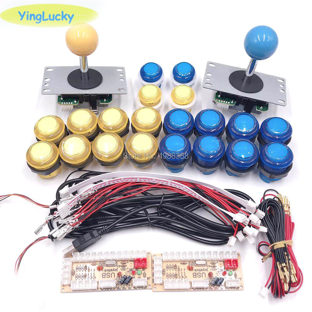 Worldwide delivery arcade joystick diy kits with 2 players usb led