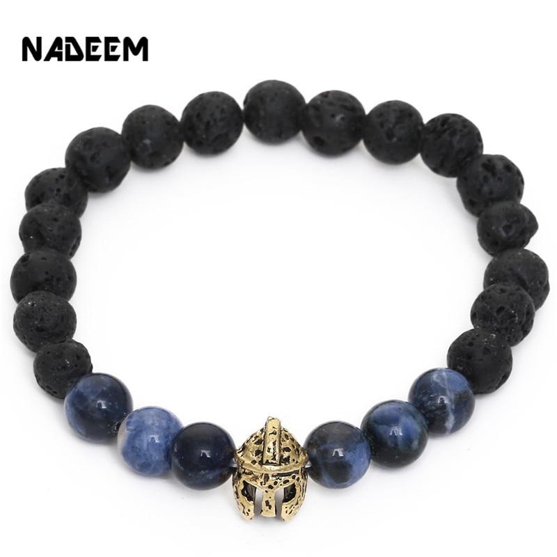 NADEEM Vintage Lava Stone Gold Helmet Pulsera Masculina Bead Bracelet Elastic Rope For Men Women Charm Bracelet Party Jewelry