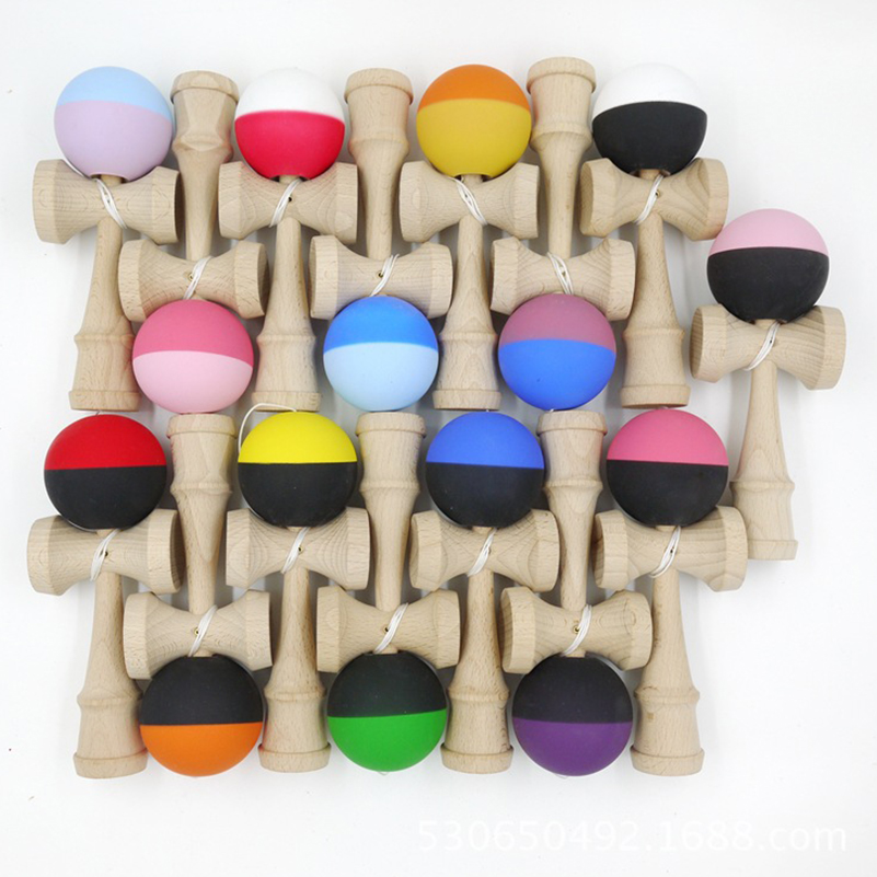 1 Piece Bicolor Wooden Kendama Skillful Jumbo Professional Kendama Ball PU Paint Outdoors Juggle Game Balls Toys For Gifts