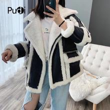 PUDI TX903 women winter warm down parka coat with real Wool  jacket overcoat thick
