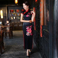 New Black Sexy Vintage Chinese Women Formal Dress Satin Printed Long Slim Cheongsam Female Elegant Flower