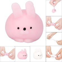 Squishy Mini White Pink Fat Rabbit Healing Squeeze Abreact Fun Joke Gift Rising Toys Hand Mini Toy soft Gift(China)