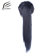 jeedou Drawstring Claw Ponytail Hair Extensions Heat Resistant Synthetic Fiber Hairpieces Long Straight False Hair Ponytails