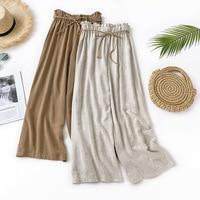 ZADORIN Korean Casual Summer Wide Leg Pants Women Linen High Waist Palazzo Pants With Belt Black White Loose Wide leg Trousers