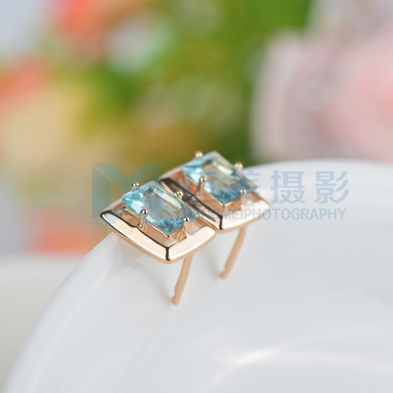 Wholesale & Retail ! Gold Colour Blue Crystal CZ Fashion Jewelry Stud Earrings E095