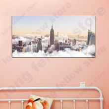 Foggy Empire State Building Panoramic Landscape Picture for Living Room Office Home Wall Decor Large Photo Print Canvas Art