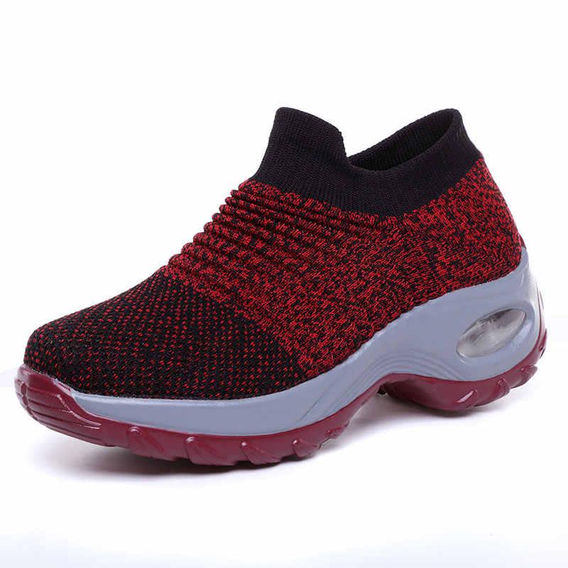 الشتاء sapato feminino أحذية النساء أحذية رياضية تنفس شبكة وسادة هوائية أحذية السيدات امرأة الانزلاق على منصة أحذية رياضية النساء