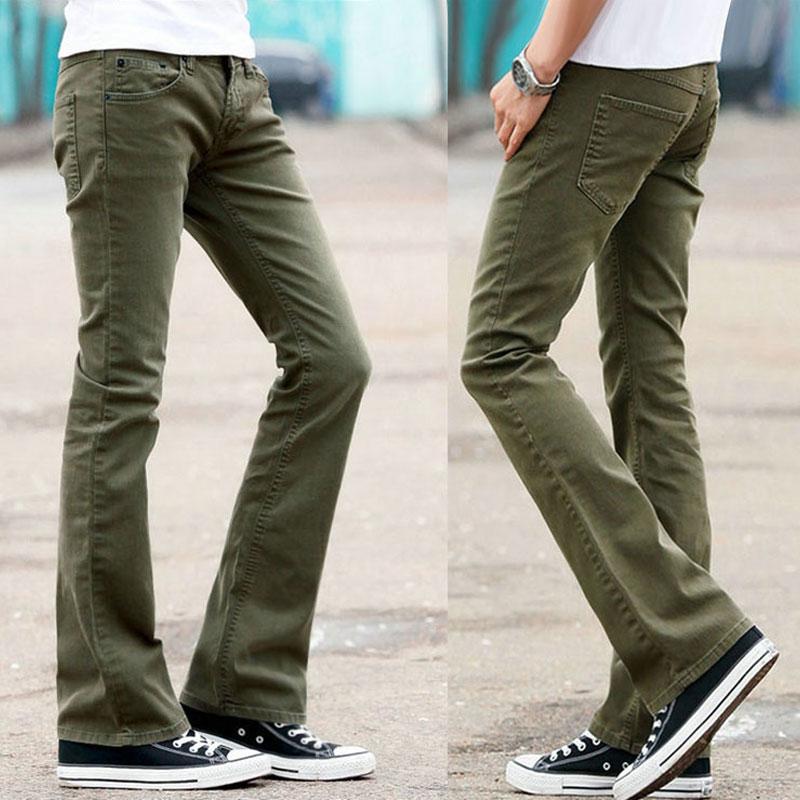 Jeans Trousers Flared Bootcut Blue High-Waist Mens Long for Bell Bottom Leg