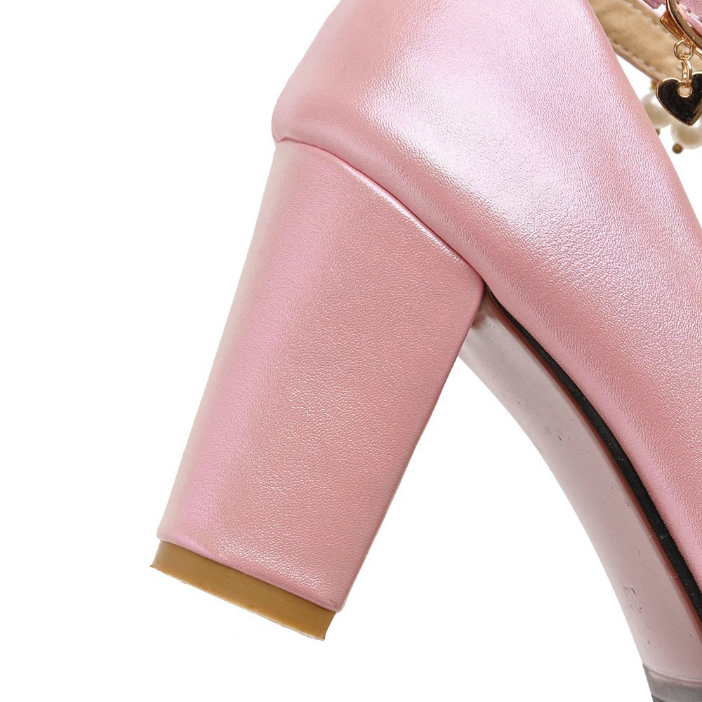 2017 Chunky High Heeled Pink Bridal Wedding Shoes Beaded White Female Buckle Elegant Pumps Silver Gold7