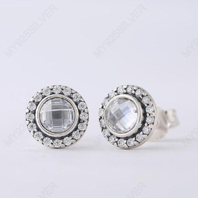 Аутентичные Стерлингового Серебра 925 Совместимость с Pandora Бриллиант Наследие Ясно CZ Серьги Стержня Женщины Ювелирные Изделия