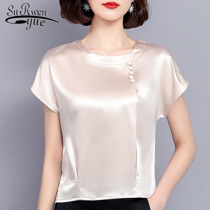 Fashion Woman   Blouses   2019 Chiffon   Blouse     Shirt   Women Summer Tops Solid Silk Plus Size 3XL 4XL Chiffon   Shirt   Women Blusa 0425 40